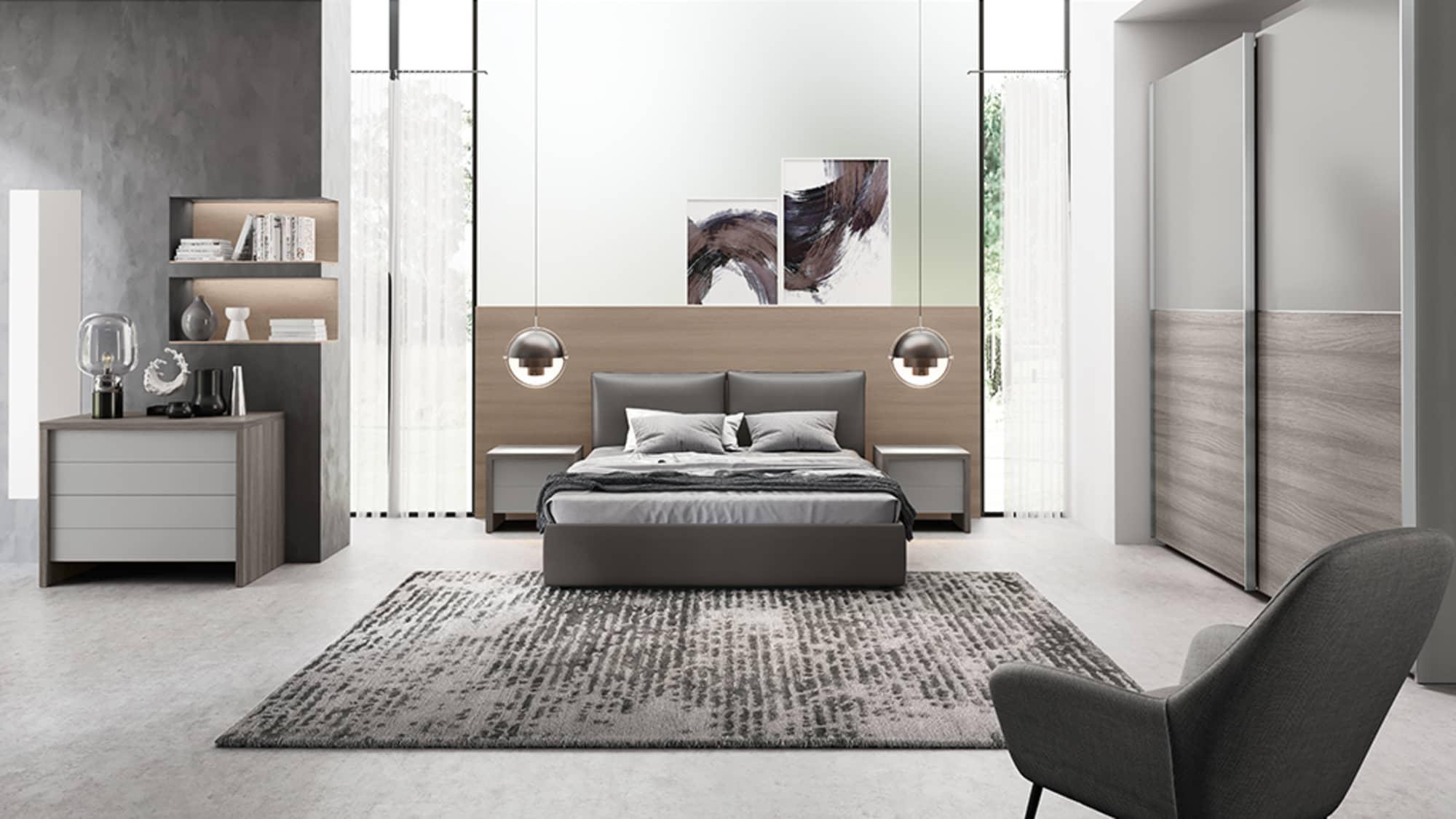 Camera completa di letto imbottito, comò e armadio scorrevole