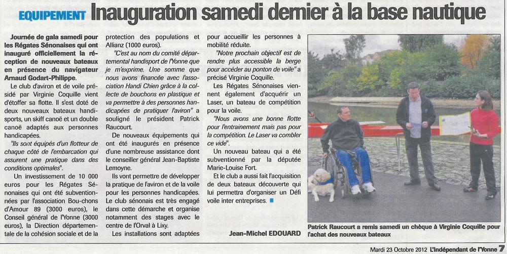 L'indépendant de l'Yonne du 23 octobre 2012