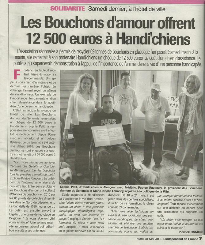 L'indépendant de l'Yonne du 28 mai 2011