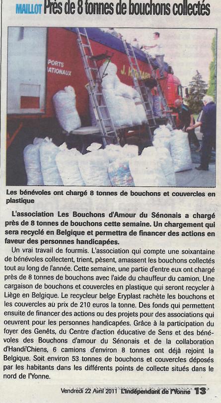 L'indépendant de l'Yonne du 22 avril 2011