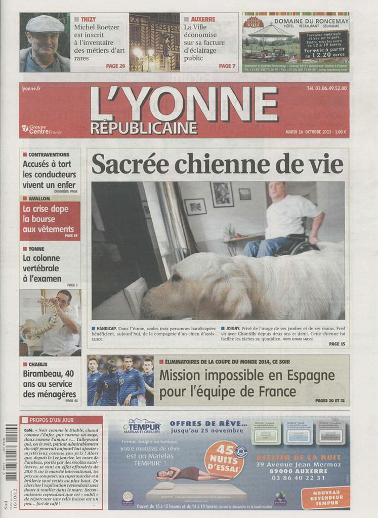 La une de l'Yonne républicaine du 16 octobre 2012