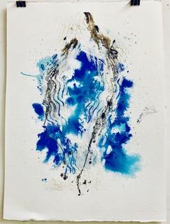 'Fließen I', Aquarell und Mixed Media auf Papier, 74x58cm
