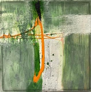 'Orange Series I', Mixed Media auf Canvas, 60x60cm