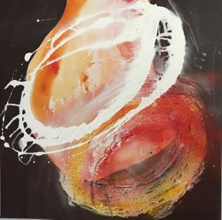 'Orange Series IV', Mixed Media auf Canvas, 60x60cm