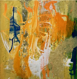 'Orange Series II', Mixed Media auf Canvas, 60x60cm