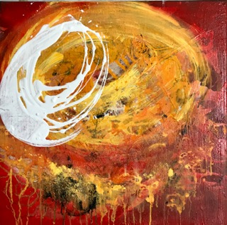 'Orange Series III', Mixed Media auf Canvas, 60x60cm