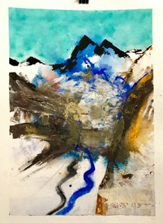 'Air und Earth', Aquarell und Mixed Media auf Papier, 76x58cm