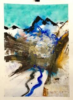 'Air und Earth', Aquarell und Mixed Media auf Papier, 76x58cm