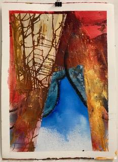 'Fire und Water', Aquarell und Mixed Media, auf Papier 76x58cm