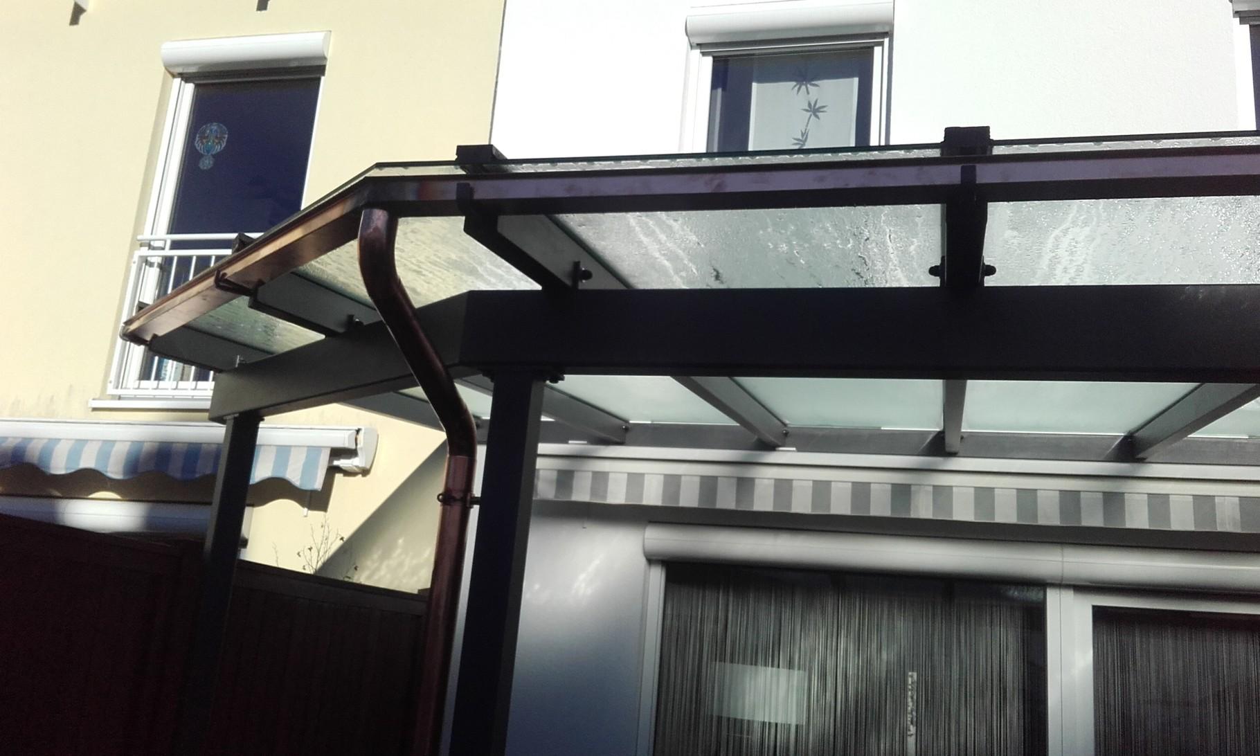 Dachrinne für Glasüberdachung