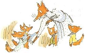 Dame Renard et ses quatre renardeaux.