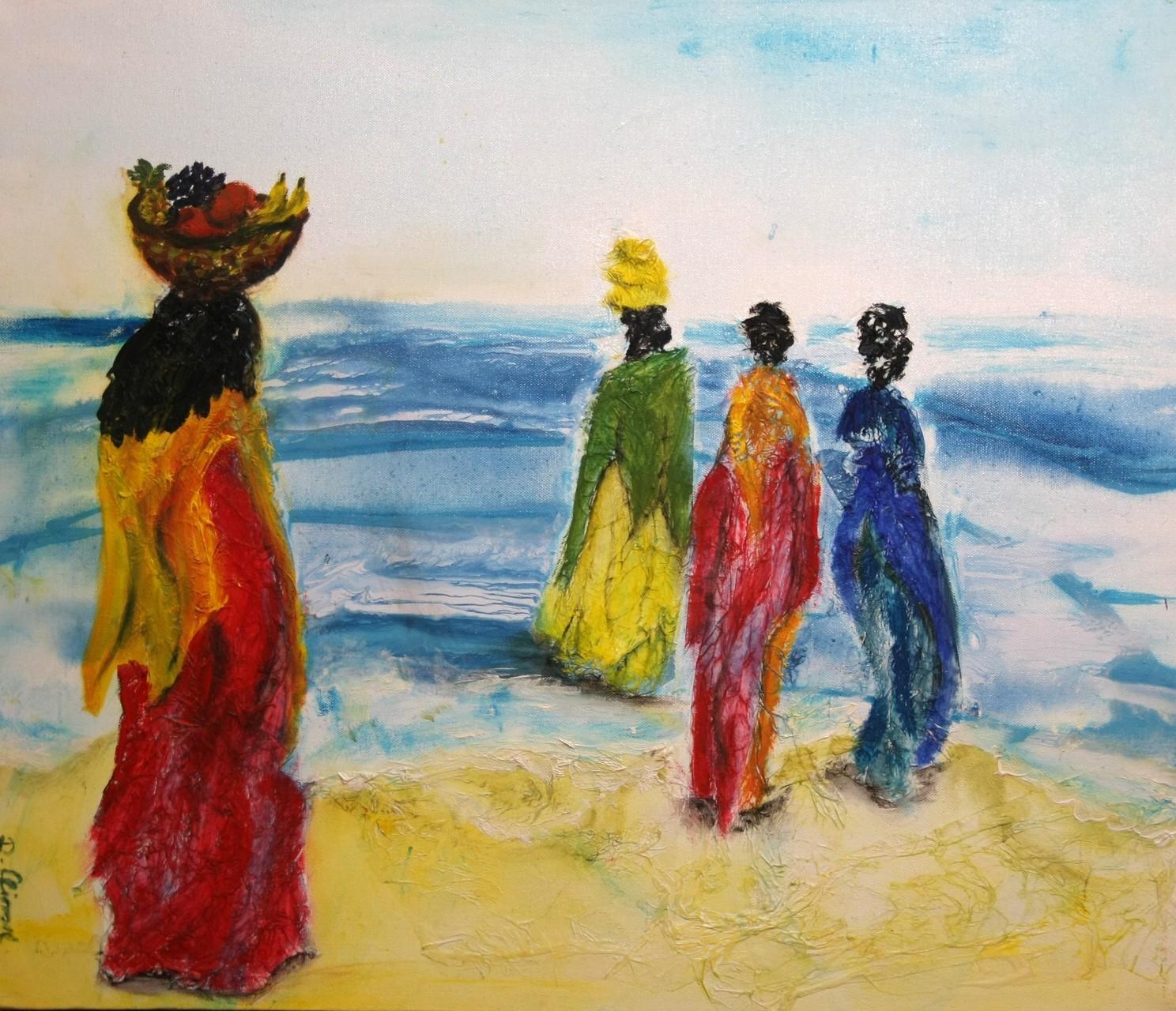 Afrikanerinnen am Meer 70 x 60 cm