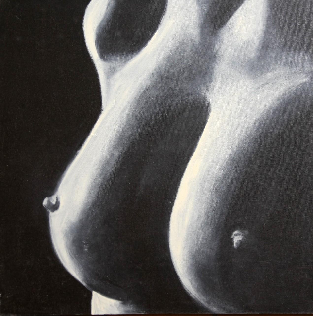 Akt 3 schwarz-weiß 60 x 60 cm