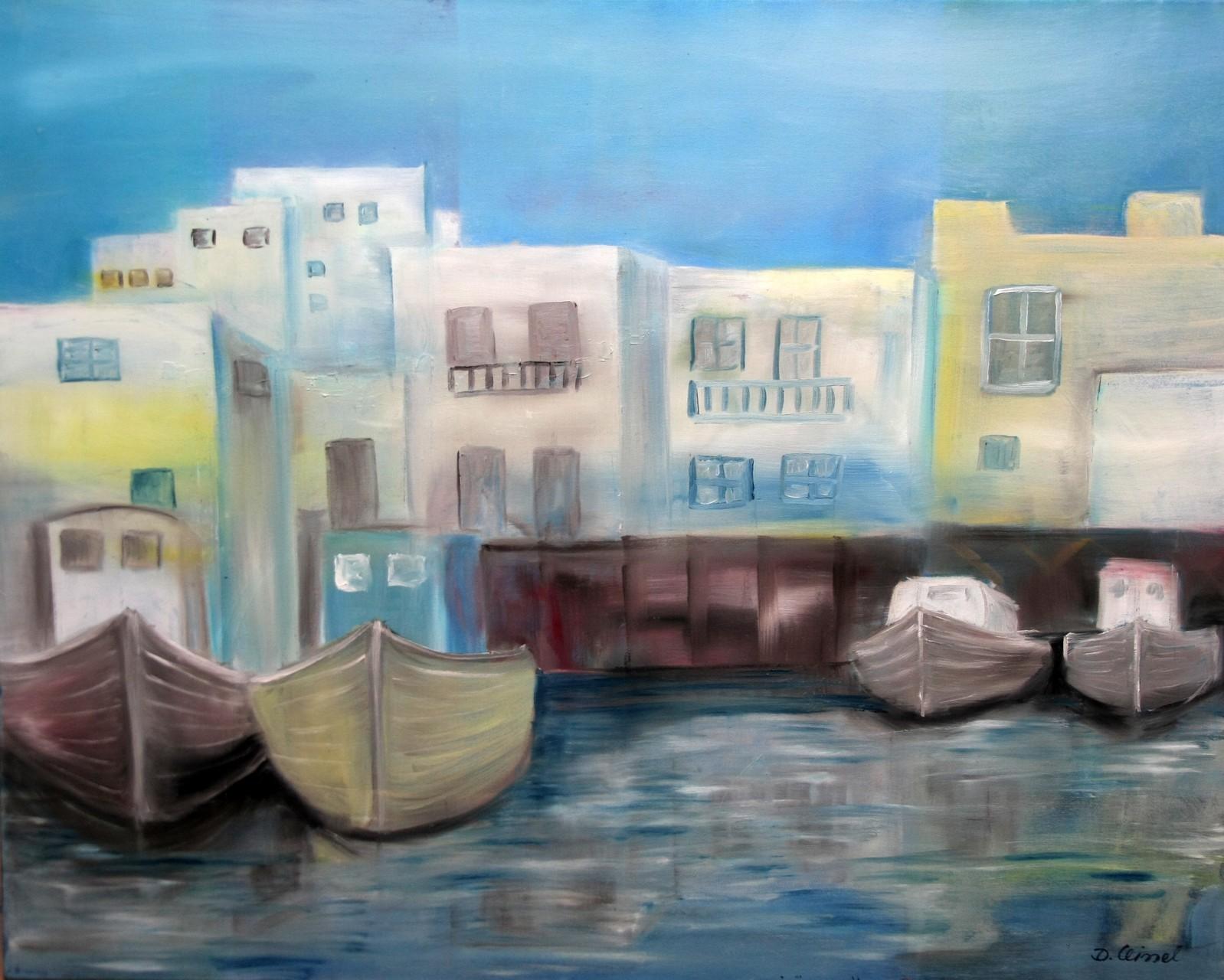 griechischer Hafen 100 x 80 cm