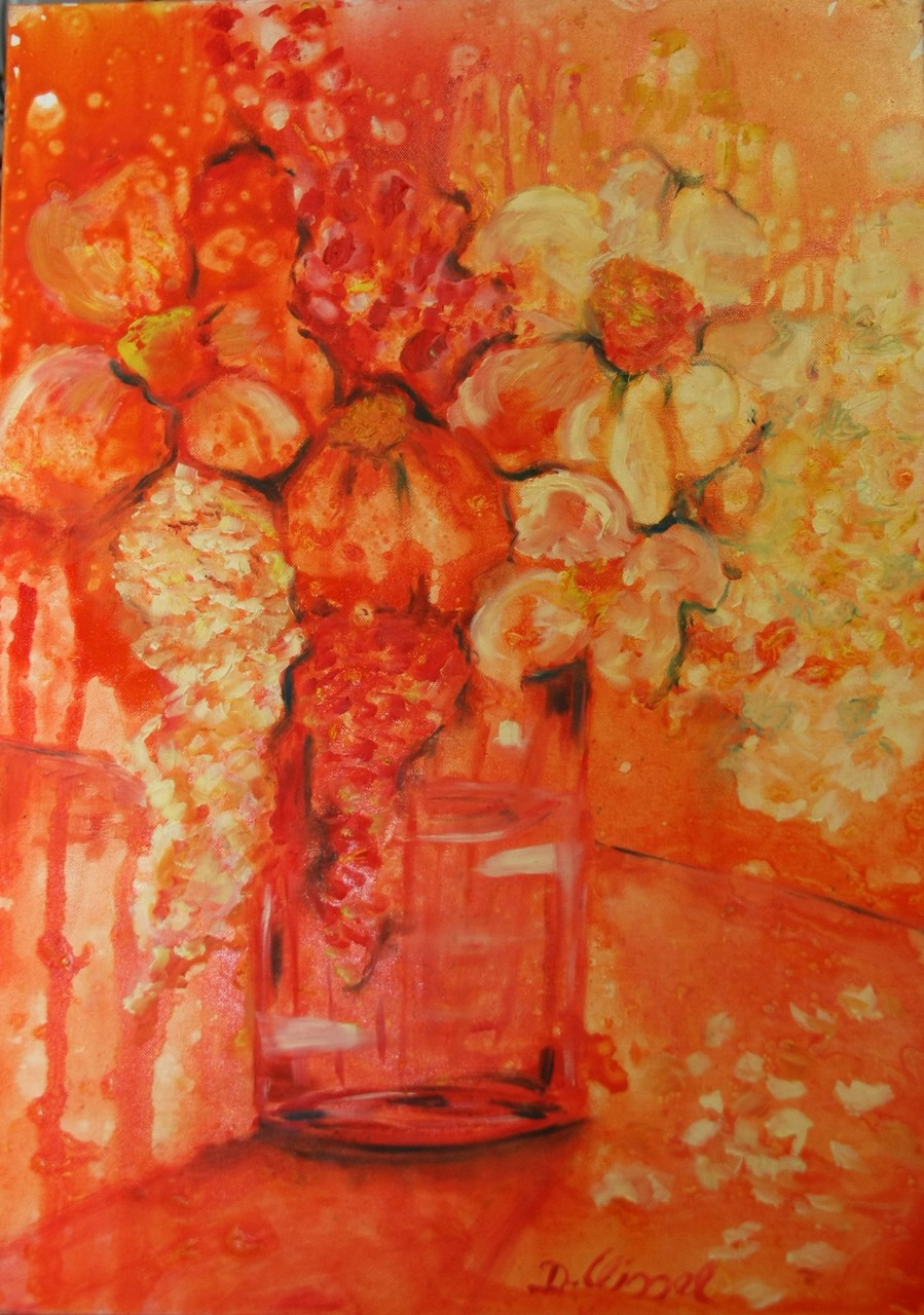 Blumenstrauß orange 50 x 70 cm