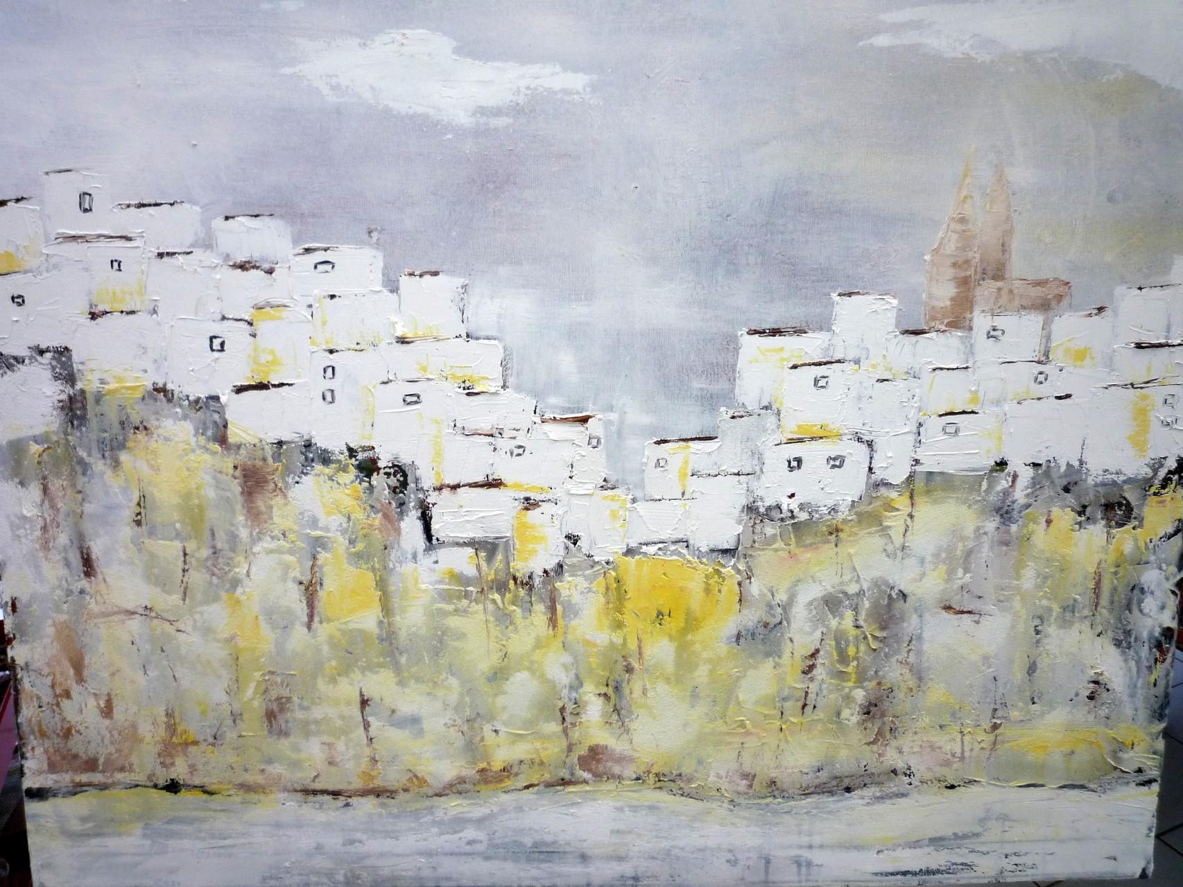 weißes andalusisches Dorf 100 x 80 cm