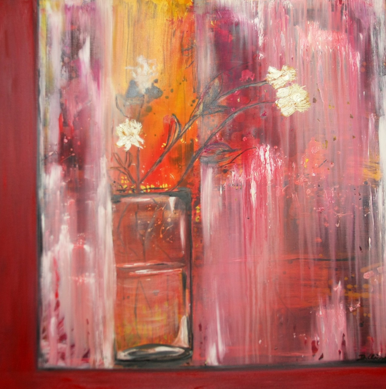 Blumenvase am Fenster 80 x 100 cm