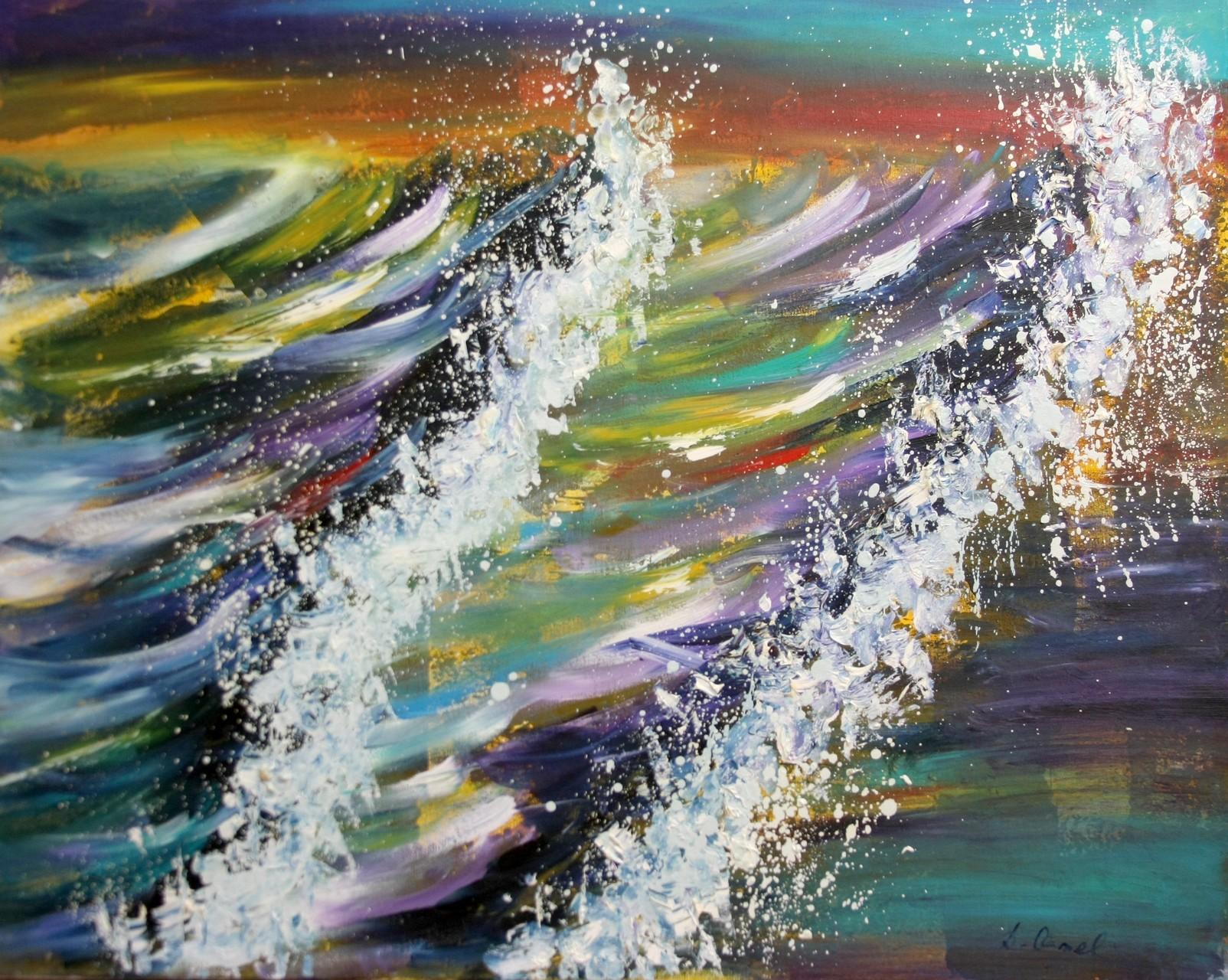 bunte Wellen 100 x 80 cm