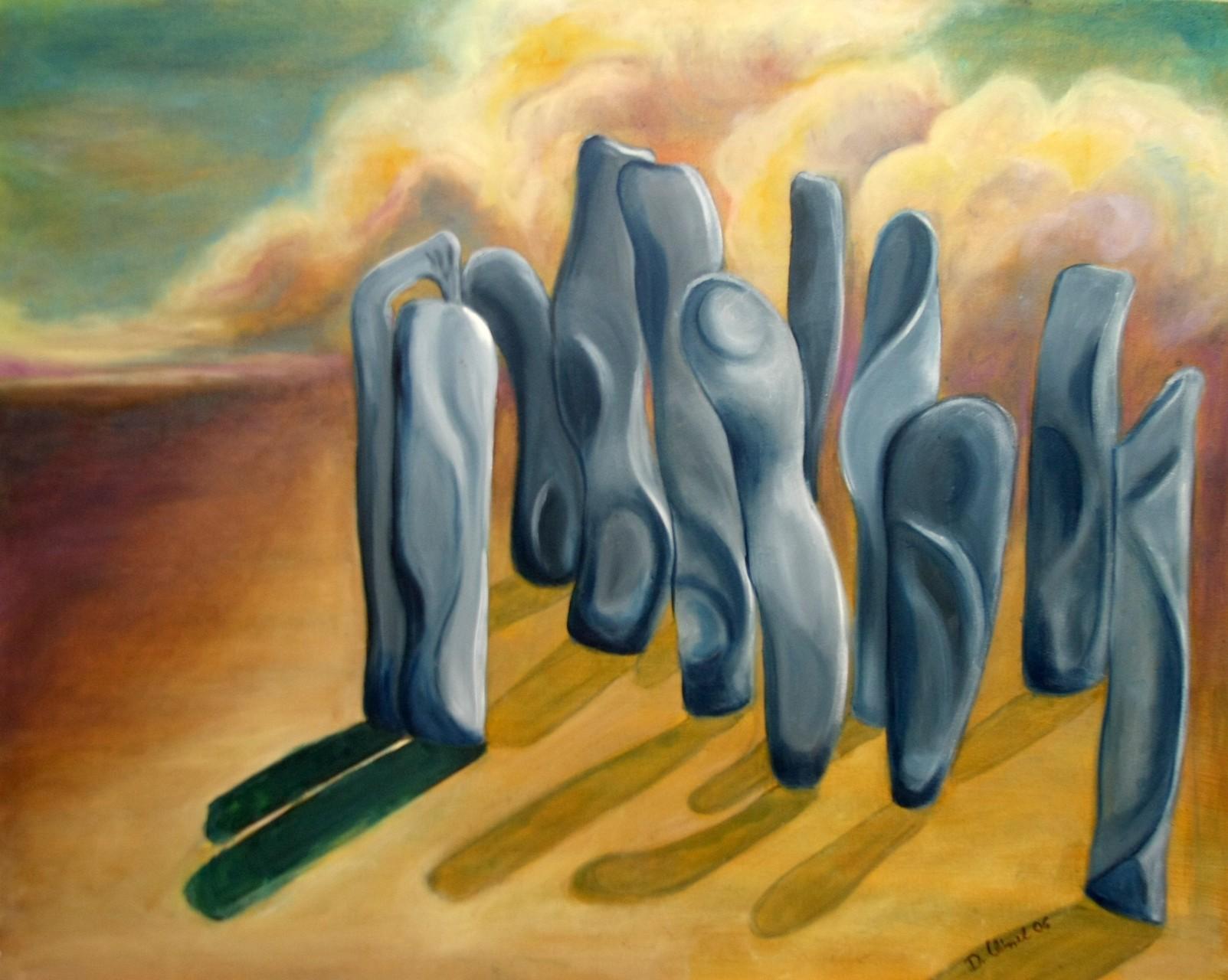 Steinfigurren vor Gewitterwolke 100 x 80 cm