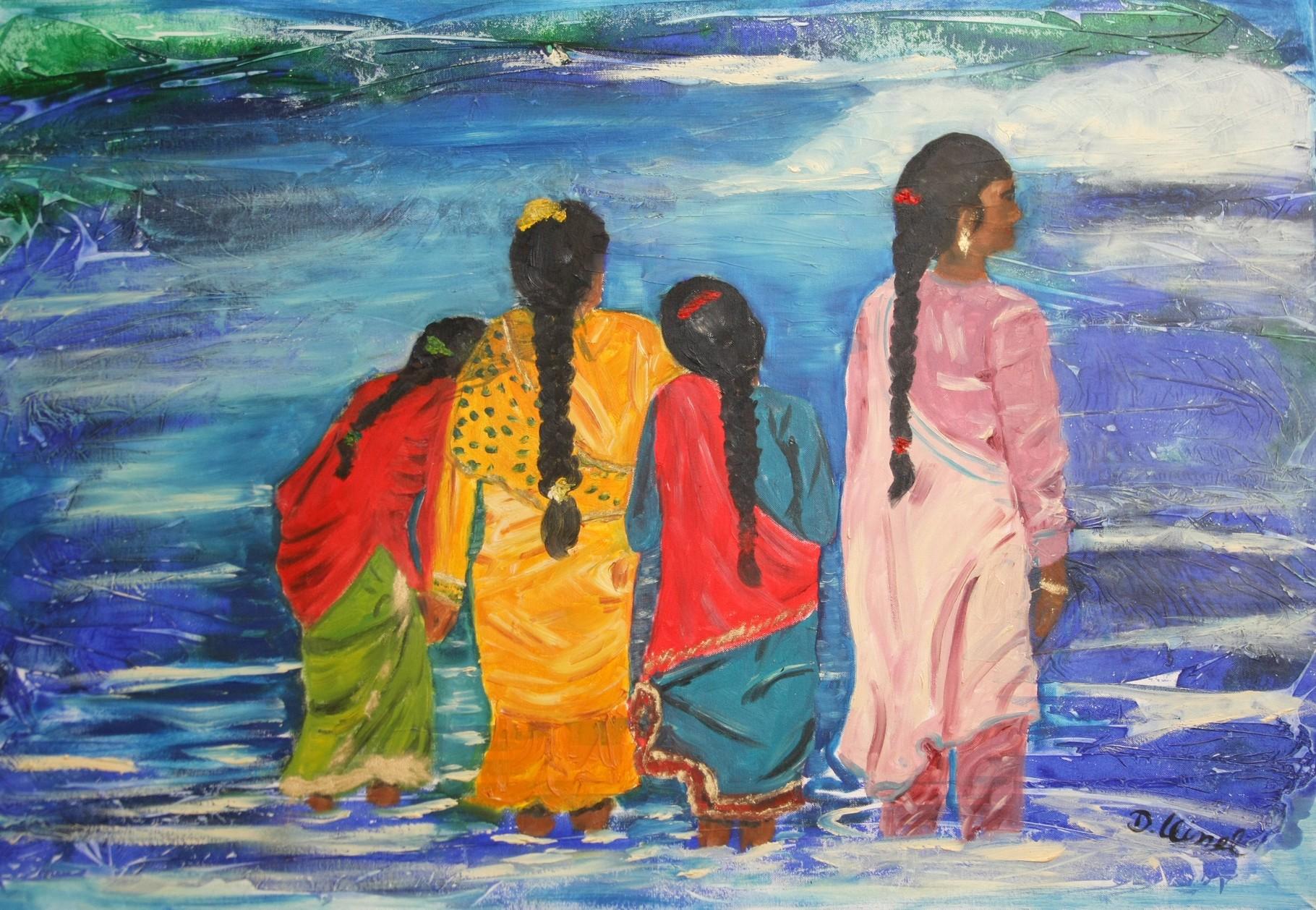Indische Mädchen am Wasser 100 x 80 cm - verkauft-