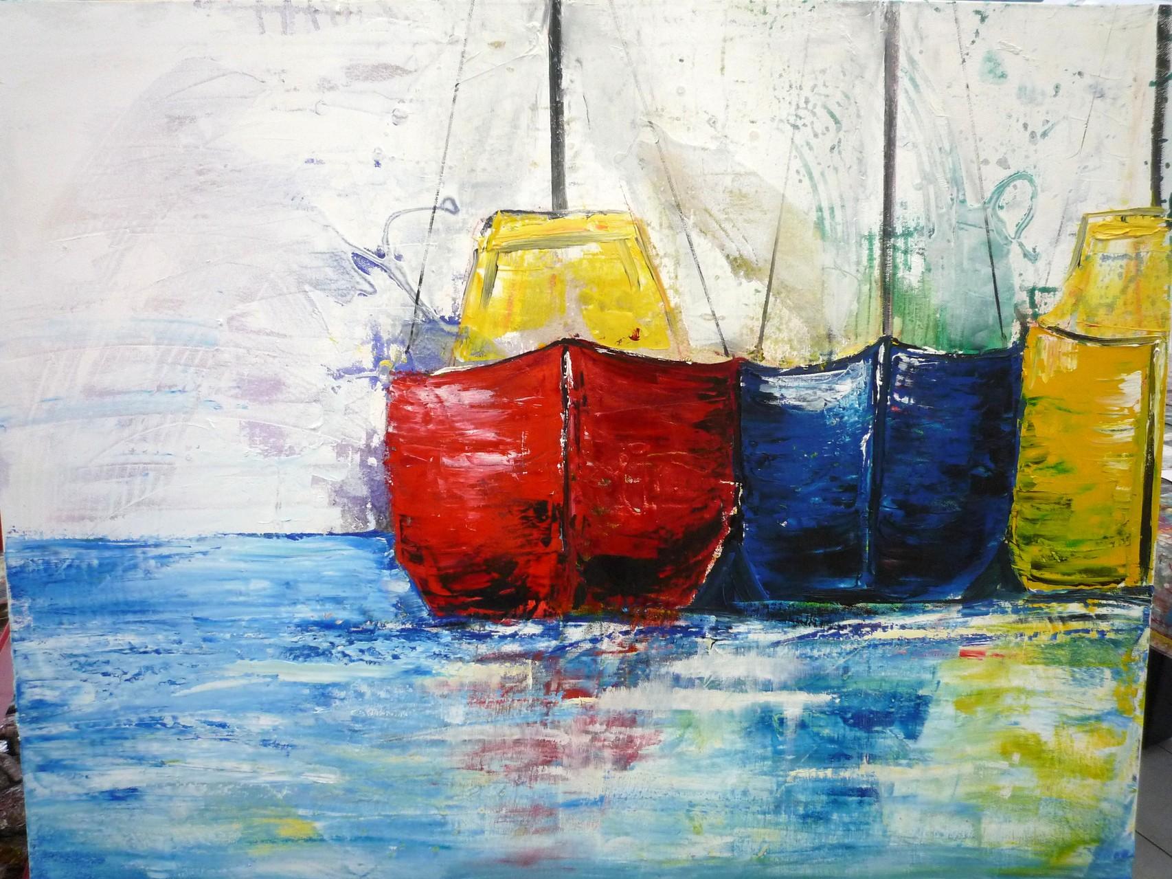 Drei Schiffe 100 x 80 cm