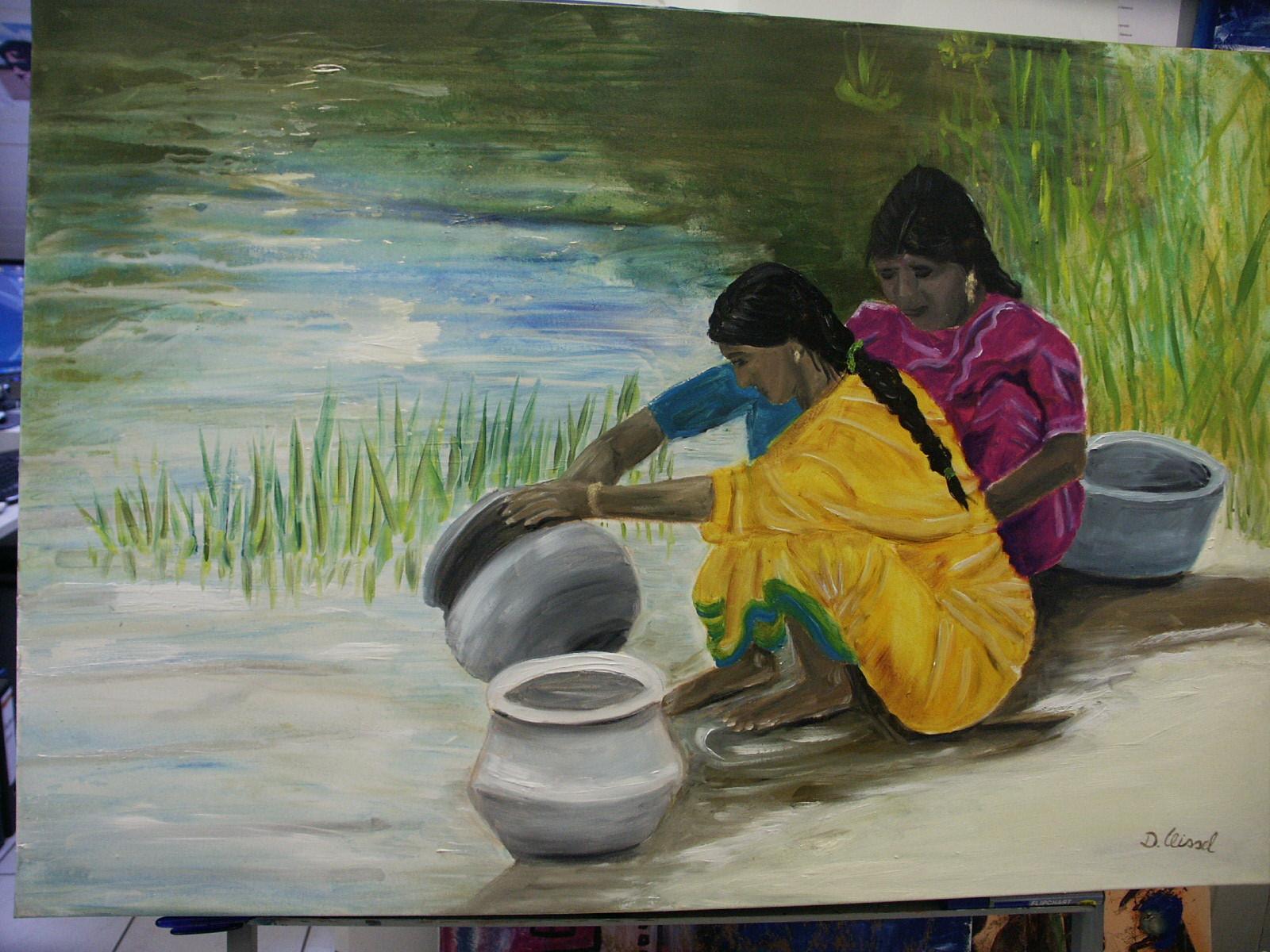 Indische Mädchen beim Abwasch 100 x 80 cm -verkauft-