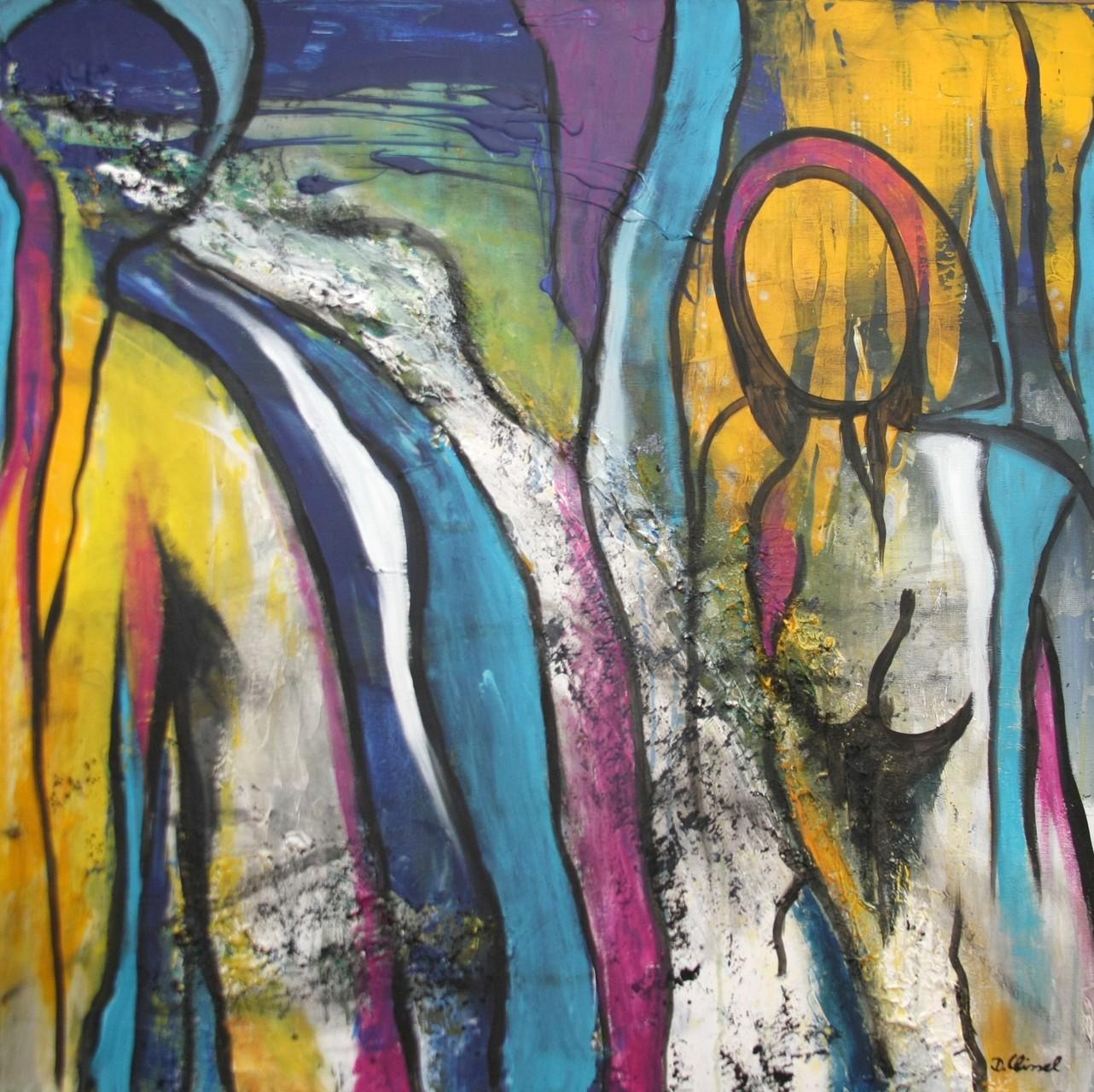Menschen abstrakt 1  80 x 80 cm