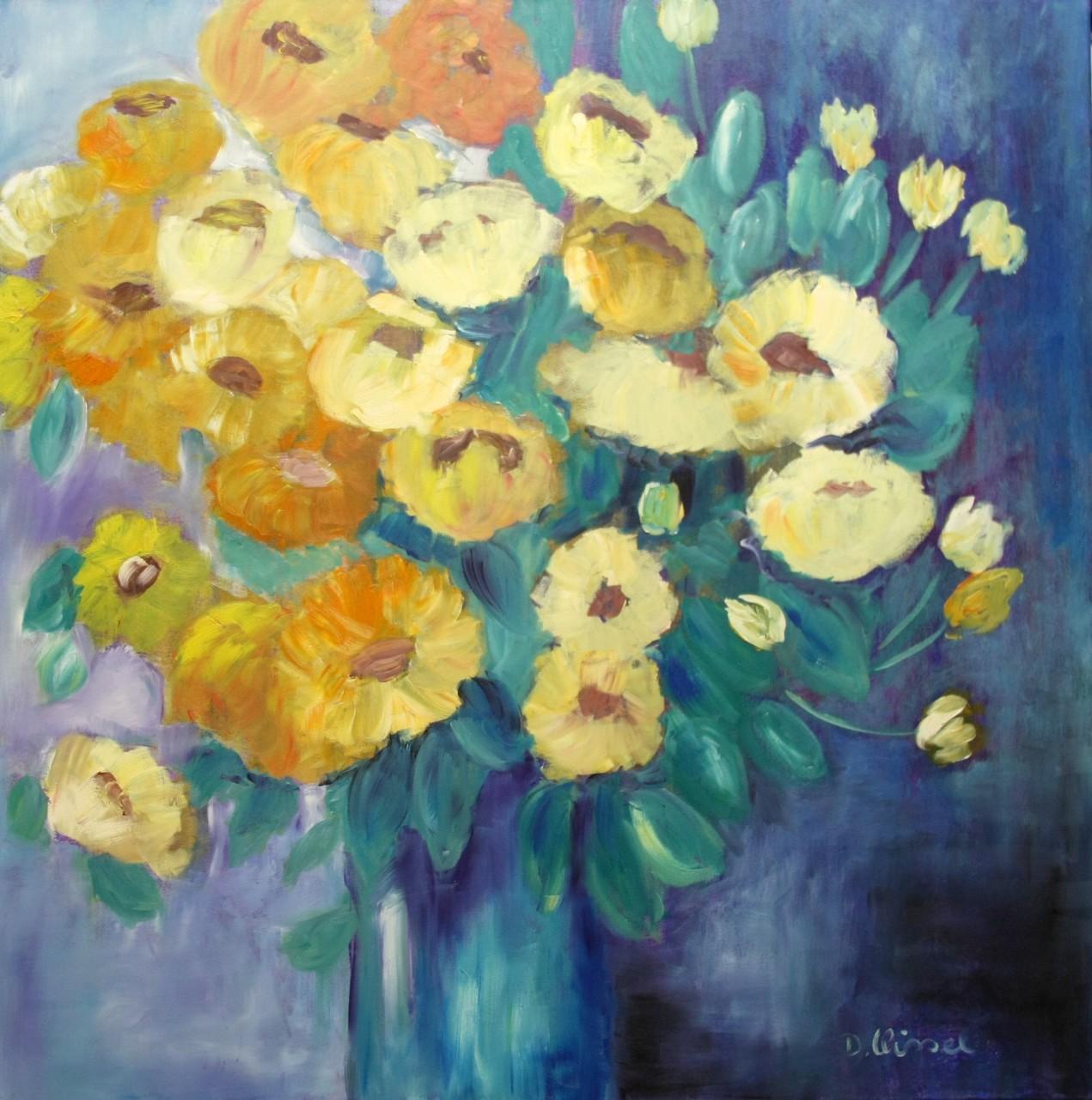 gelber  Blumenstrauß 100 x 100 cm