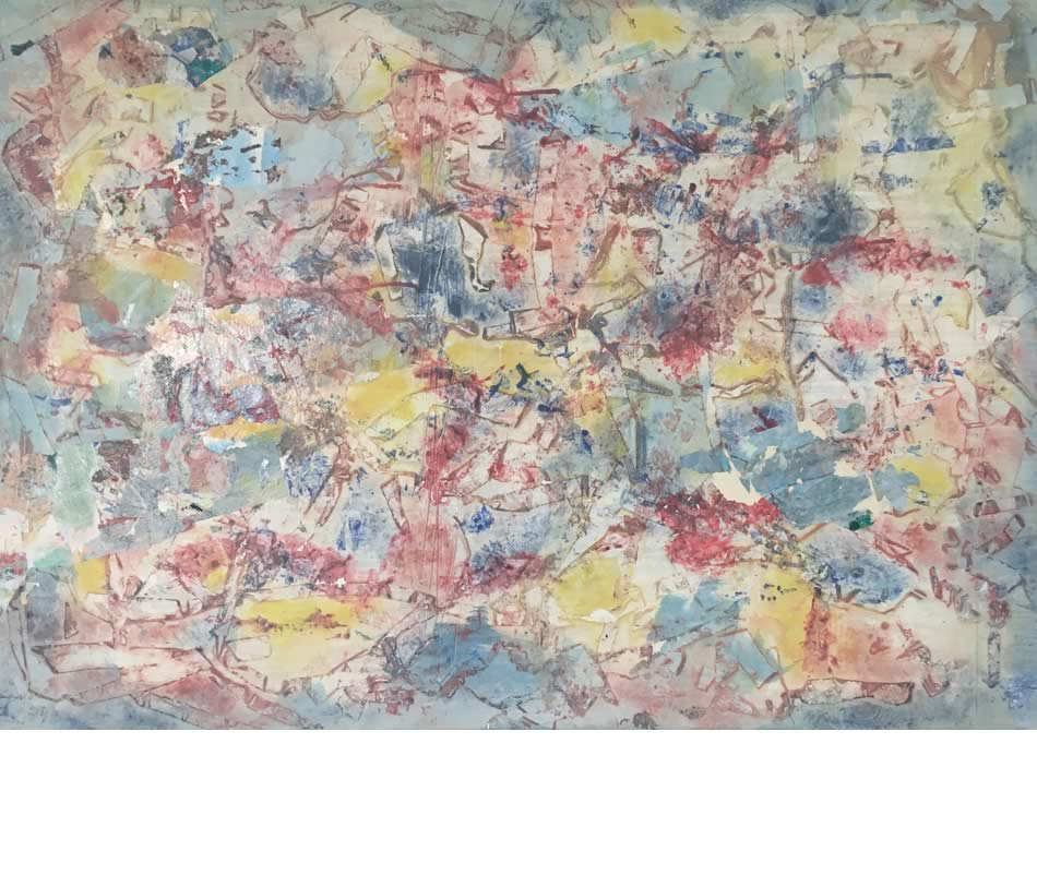 Lavaschmelze, Décollage, Acryl auf Leinwand, 2021, 70 x 100 cm