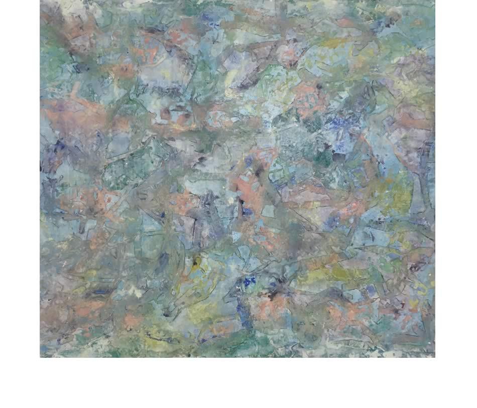 Nachtbild II, Décollage, Acryl auf Leinwand, 2020, 100 x 110 cm