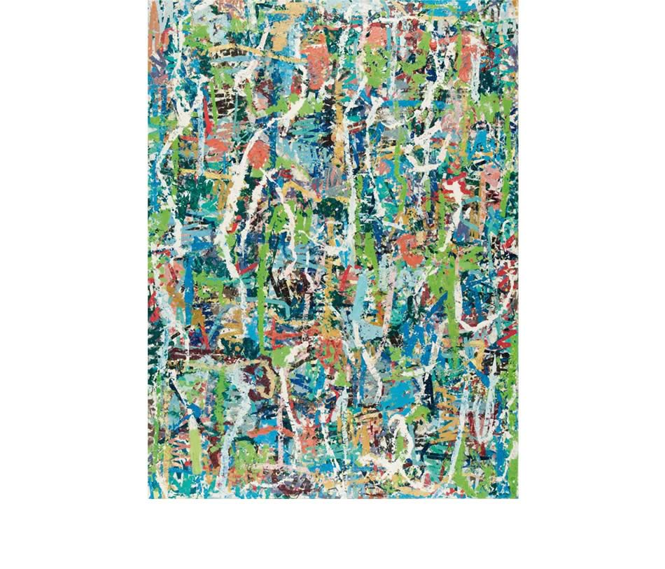 Waldlauf, Décollage, Acryl auf Leinwand, 2013, 190 x 140 cm