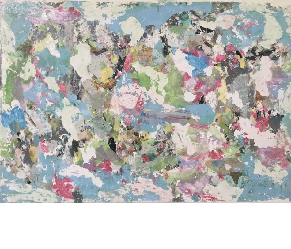 Baumblüte, Décollage, Acryl auf Leinwand, 2021, 70 x 100 cm