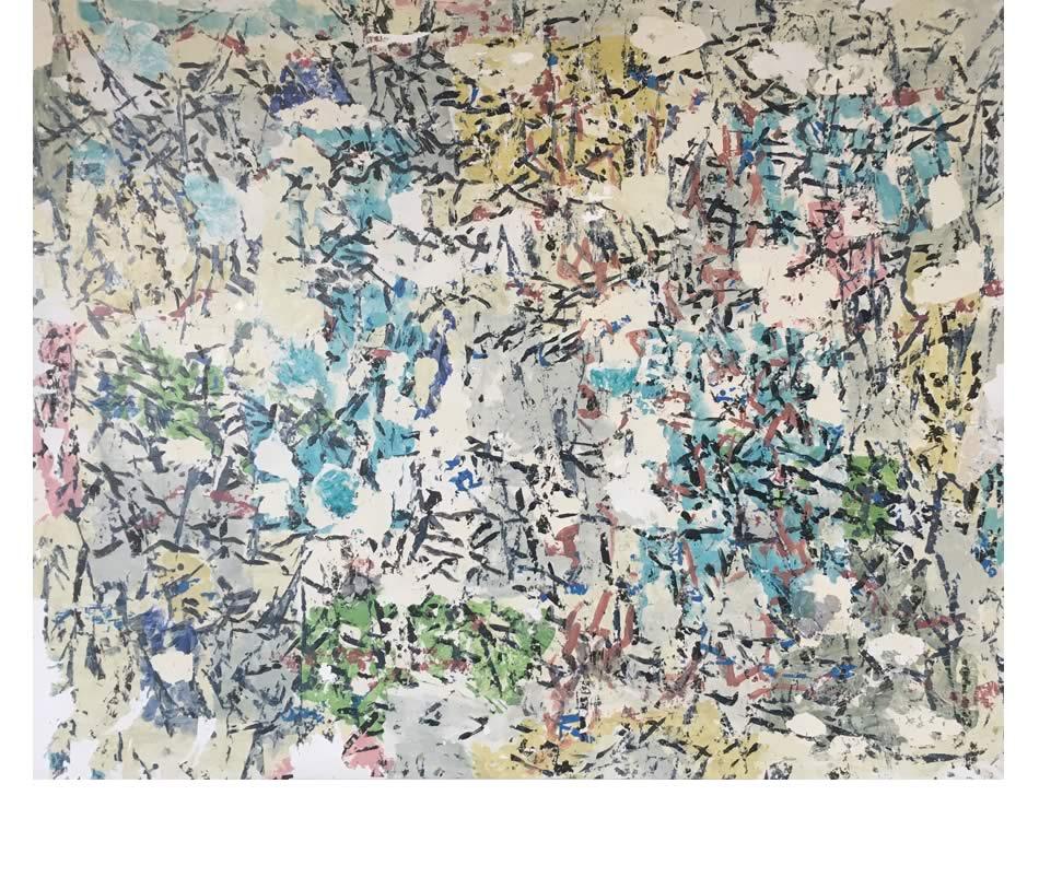 Kalligraphische Landschaft, Décollage, Acryl auf Leinwand, 2020, 135 x 170 cm