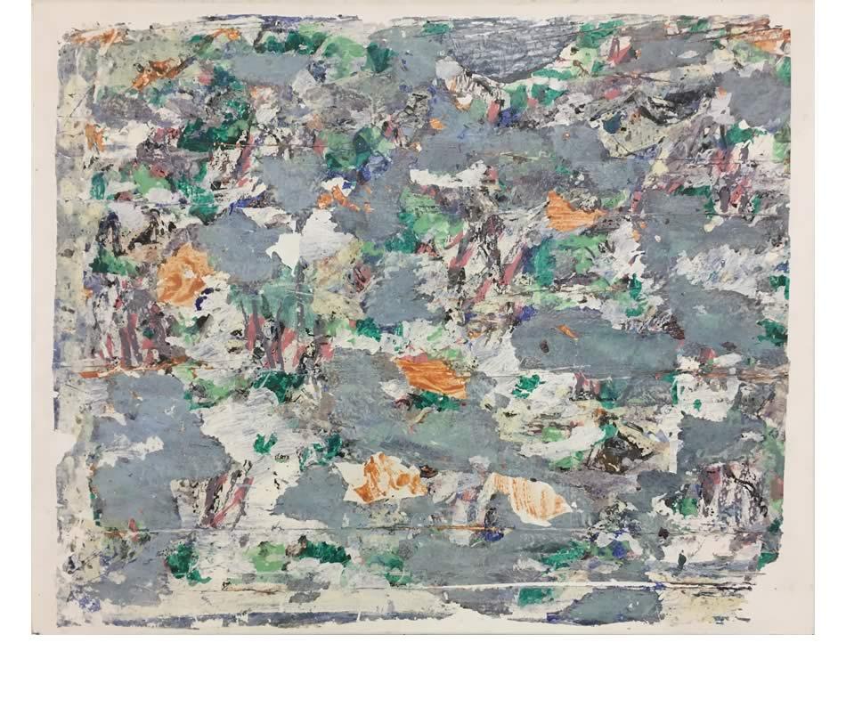 Für Claude, Décollage, Acryl auf Leinwand, 2019, 80 x 100 cm