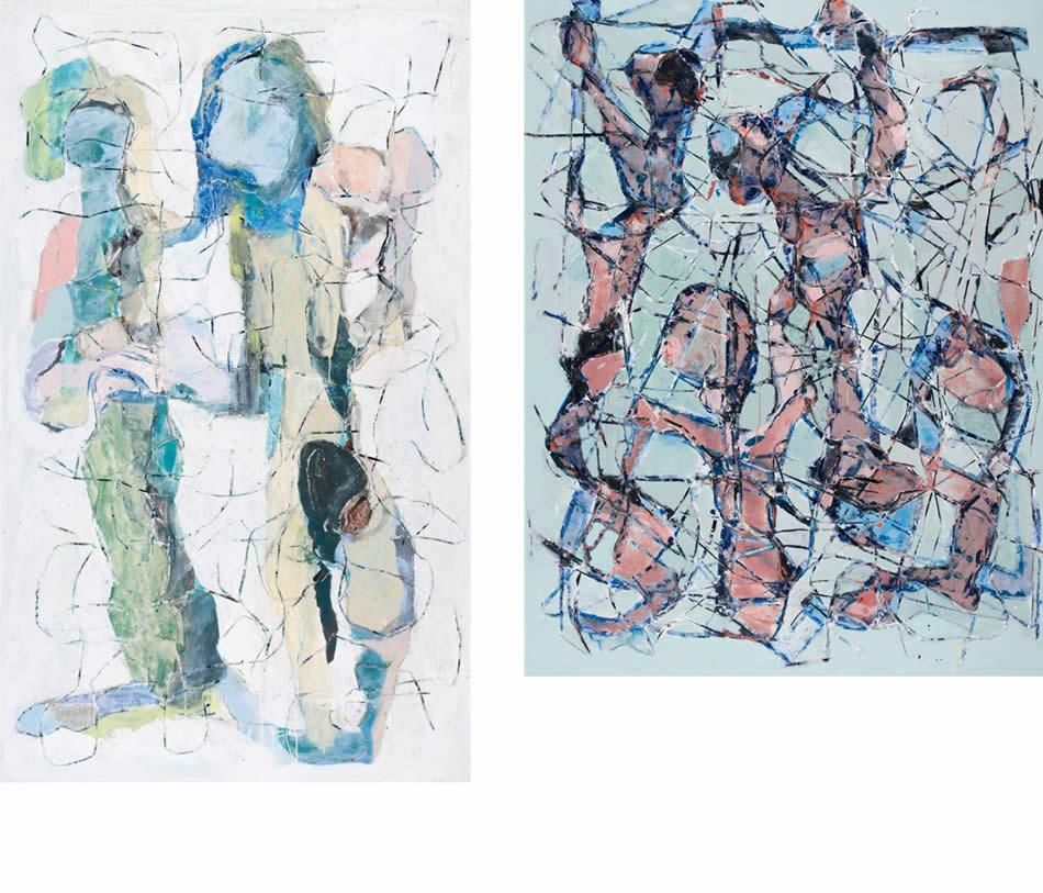 Paar, Acryl auf Leinwand, 2010, 200 x 135 cm   |   Gruppenbild, Acryl auf Leinwand, 2007, 185 x 150 cm