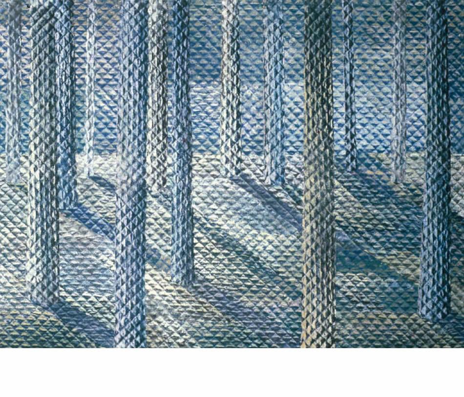 Wald I, Frottage, Materialdruck, Öl auf Leinwand, 1979, 110 x 146 cm (Privatbesitz)