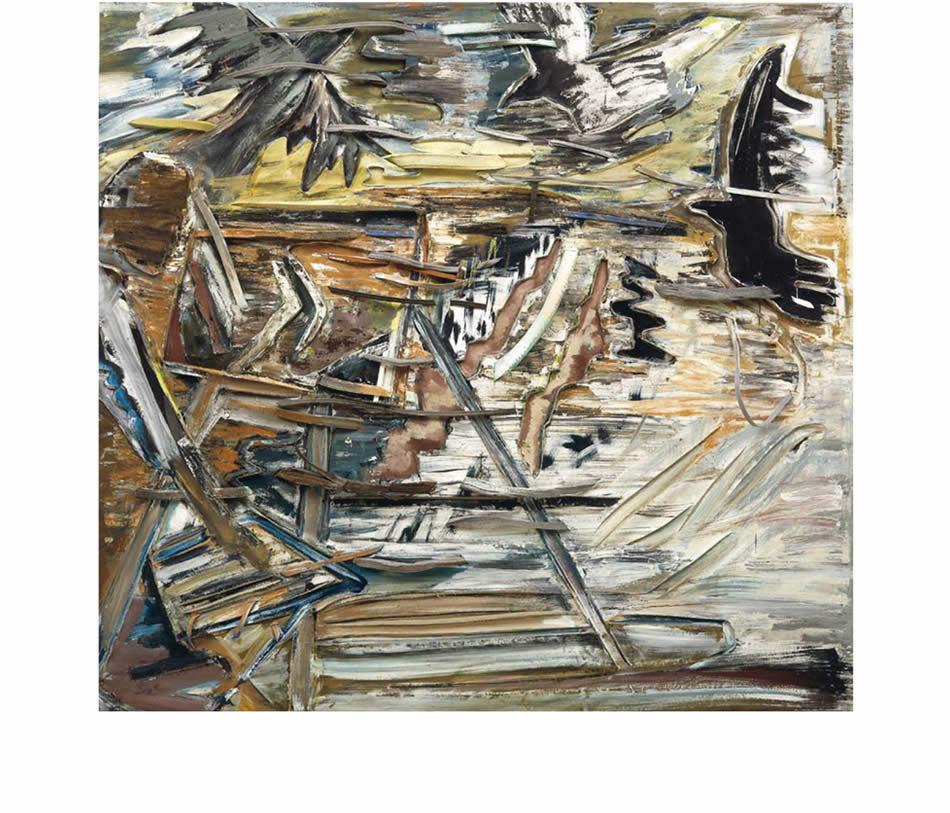 Maler in der Mark Brandenburg (Hommage à van Gogh), Reliefbild, Acryl und Materialien auf verformter Leinwand, 1989, 150 x 160 cm