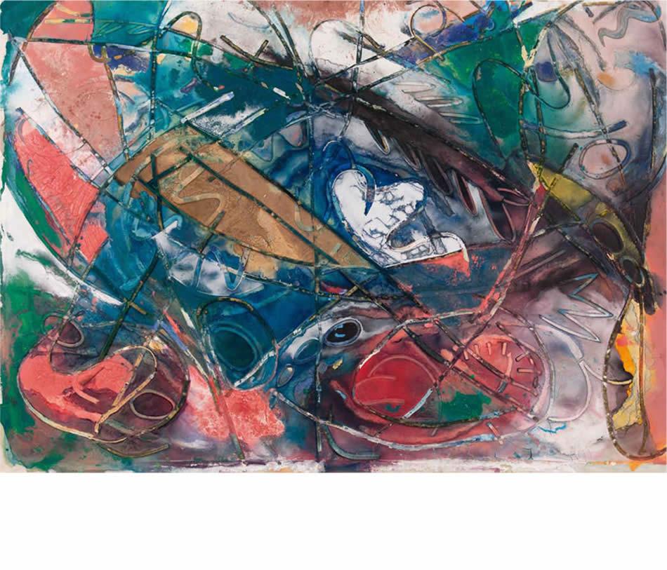 Waldbodenlandschaft, Acryl auf Leinwand und Pappe, 1991, 150 x 200 cm