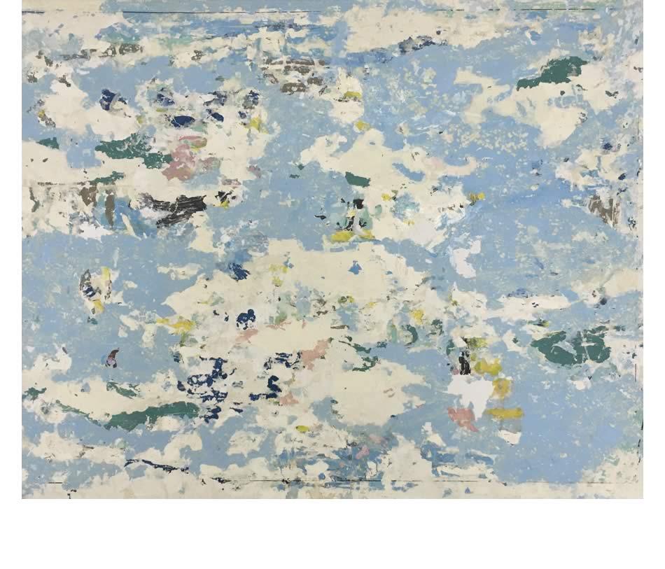 Wolkenbild, Décollage, Acryl auf Leinwand, 2015, 80 x 100 cm