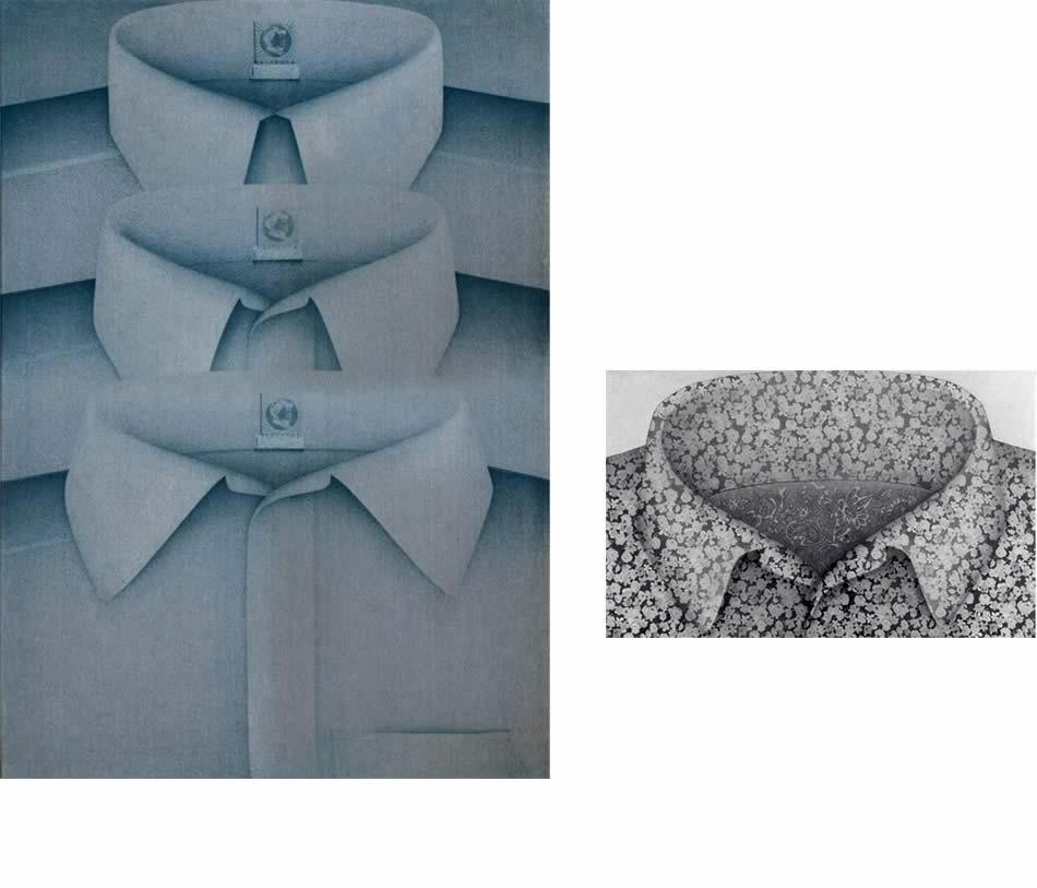 Turm der blauen Hemden, Stofffarbe auf Frottee, 1969, 135 x 95 cm   |   Blumenkragen, Materialmontage, Acryl auf bedrucktem Stoff, 1970, 80 x 144 cm