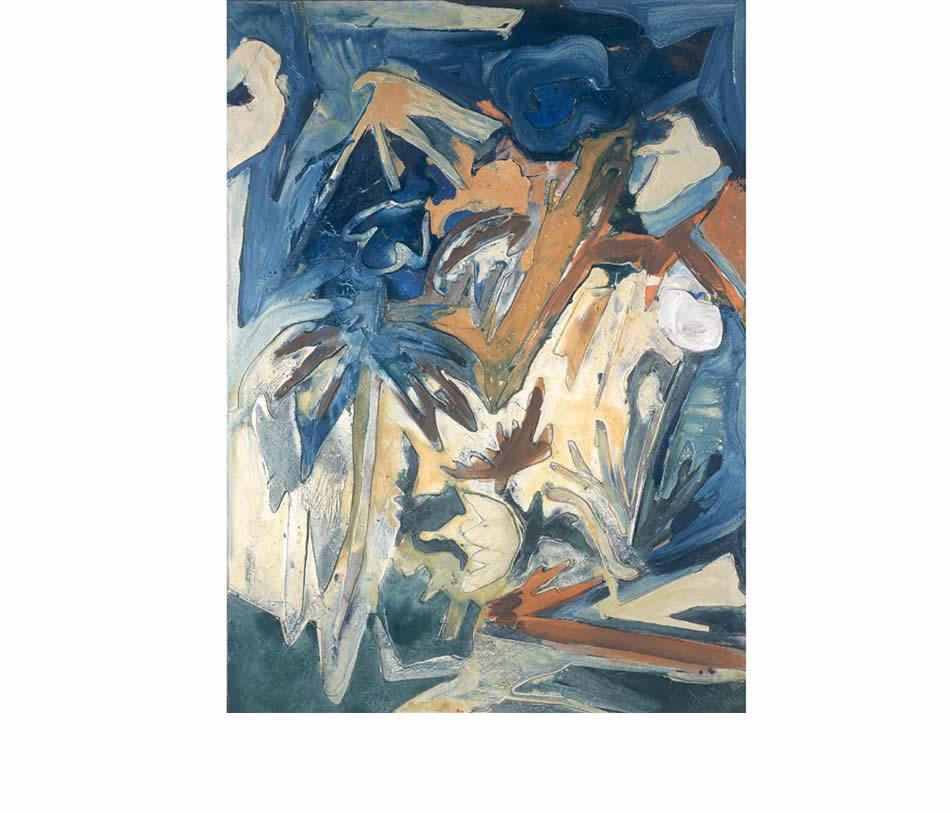 Waldboden – Buschwindröschen, Acryl auf Leinwand und Pappe, 1999, 120 x 80 cm (Privatbesitz)