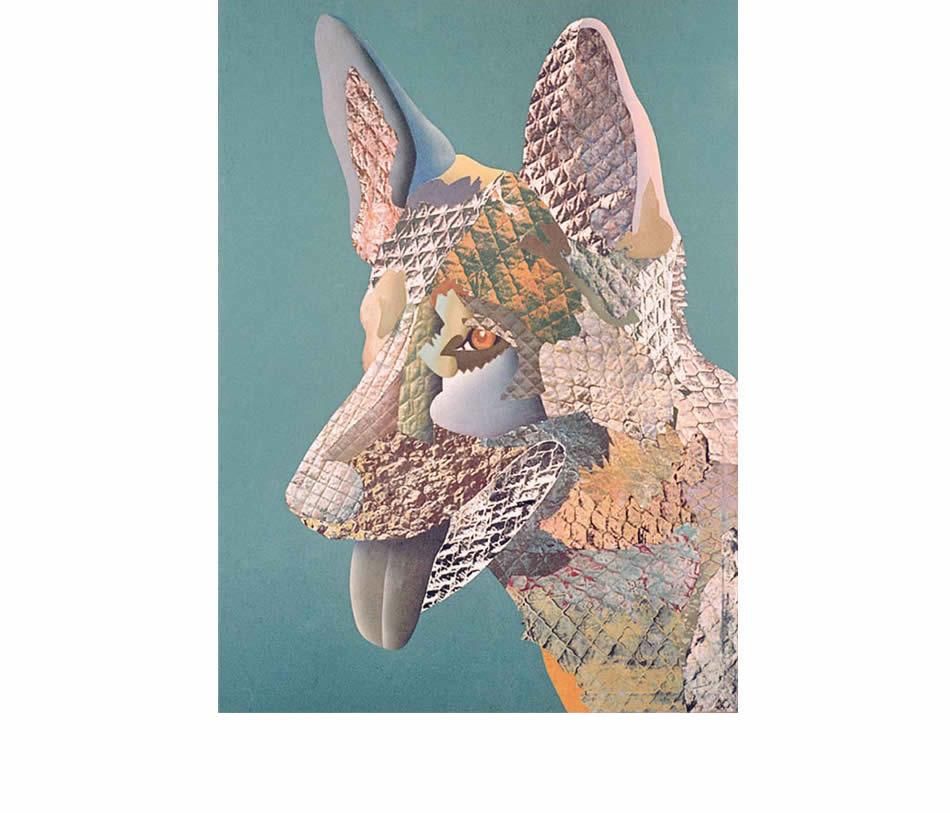 Schäferhund, Frottage, Materialdruck, Öl auf Leinwand, 1977, 150 x 135 cm
