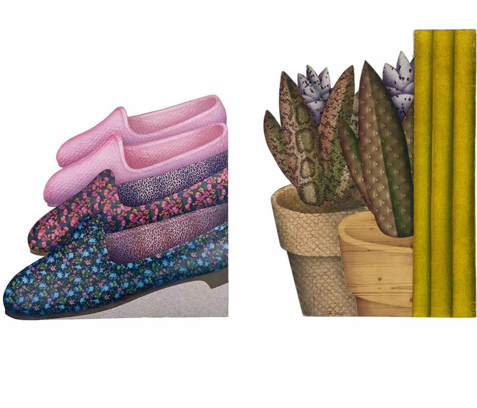 Puschen, Materialmontage, Acryl, 1969/ 70, 140 x 140 cm   |   Topfpflanzen vor grünem Vorhang, Materialmontage, Acryl, 1971, 100 x 74 cm
