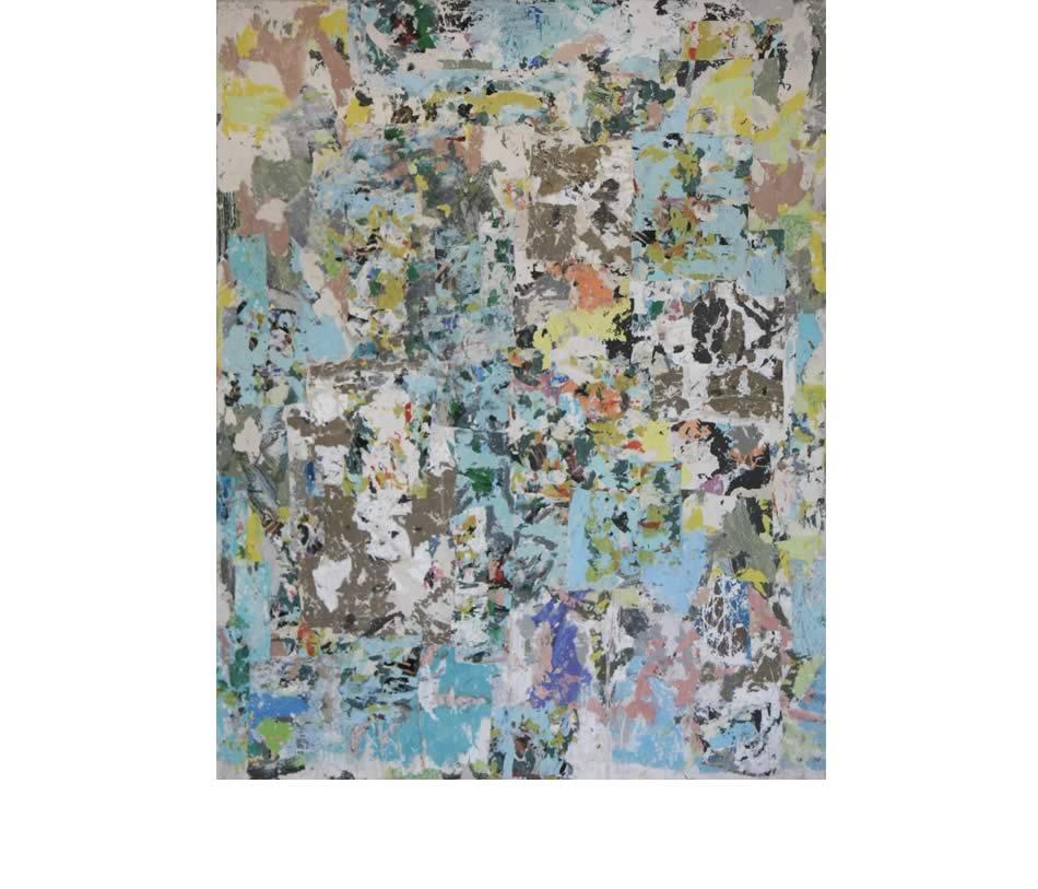 Zwischen den Zeiten, Décollage, Acryl auf Leinwand, 2018, 140 x 110 cm