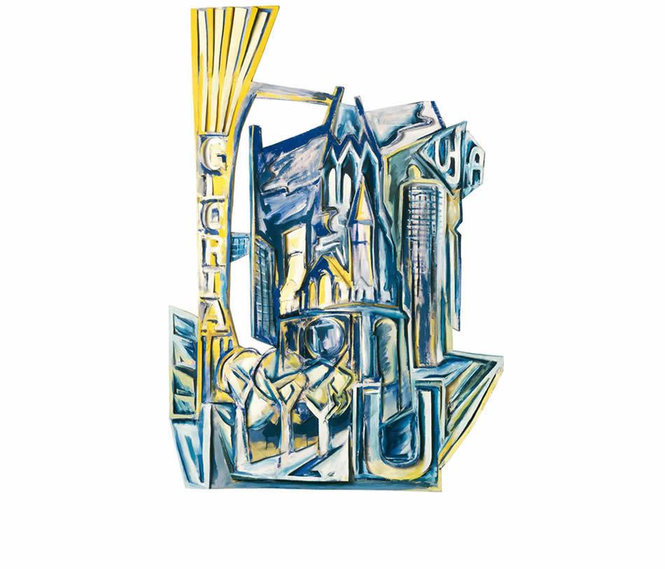 Gloria und die Ruine, Reliefbild, Acryl auf verformter Leinwand und Pappe, 1985, 238 x 165 x 12 cm (Sammlung Stiftung Stadtmuseum Berlin)
