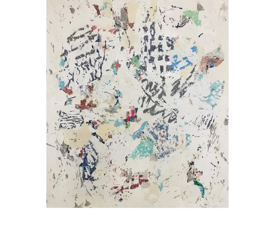 Spurensuche, Décollage, Acryl auf Leinwand, 2017, 120 x 105 cm