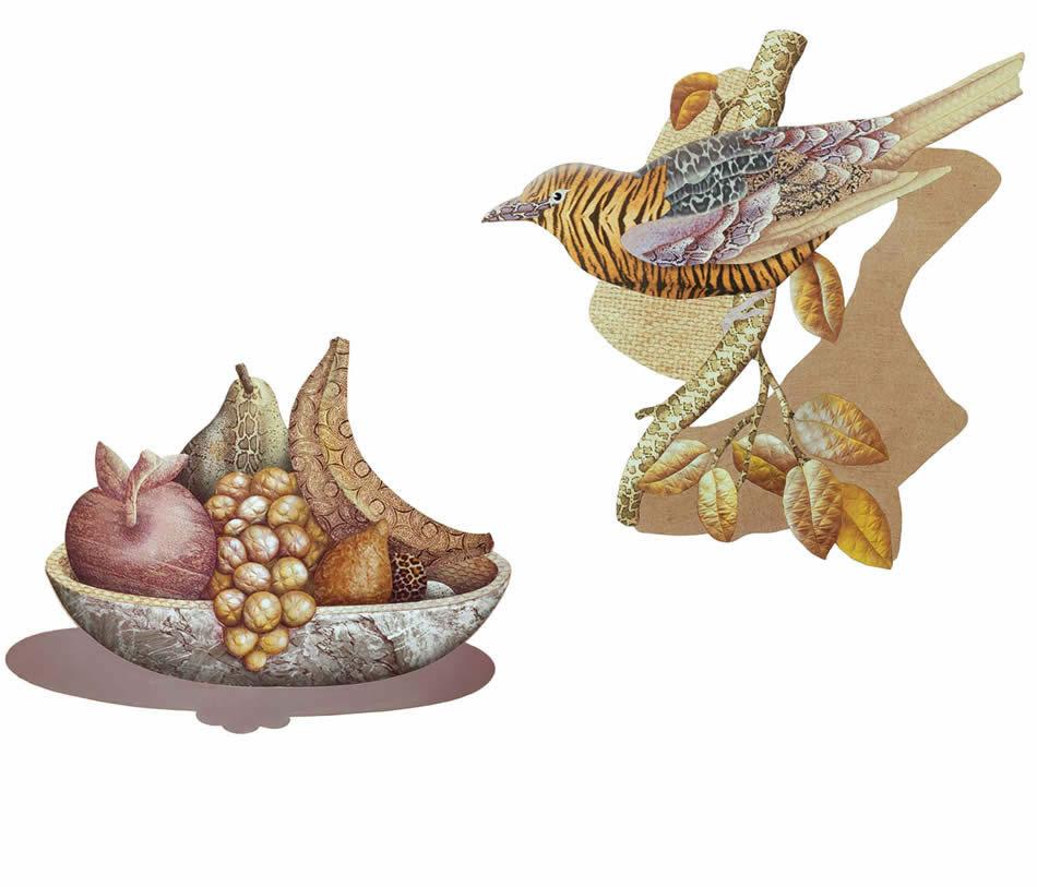 Obstschale mit Stepptrauben, Materialmontage, 1973, 112 x 142 cm (Privatbesitz)   |   Gelber Vogel, Materialmontage, 1975, 140 x 140 cm (Privatbesitz)