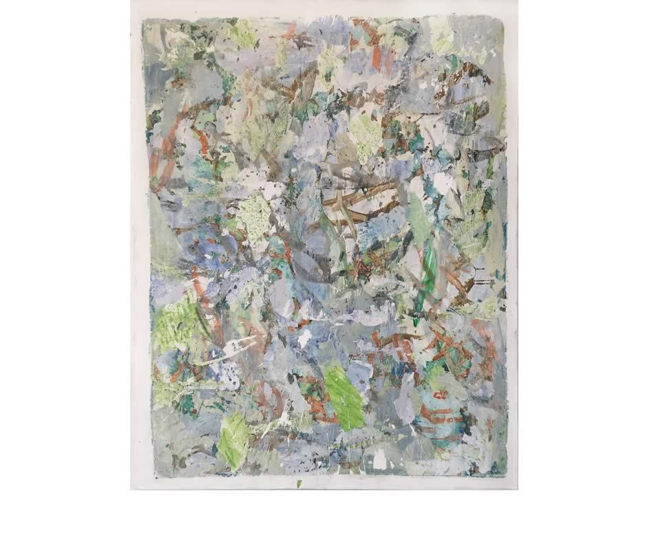 In den Baumkronen, Décollage, Acryl auf Leinwand, 2020, 150 x 120 cm