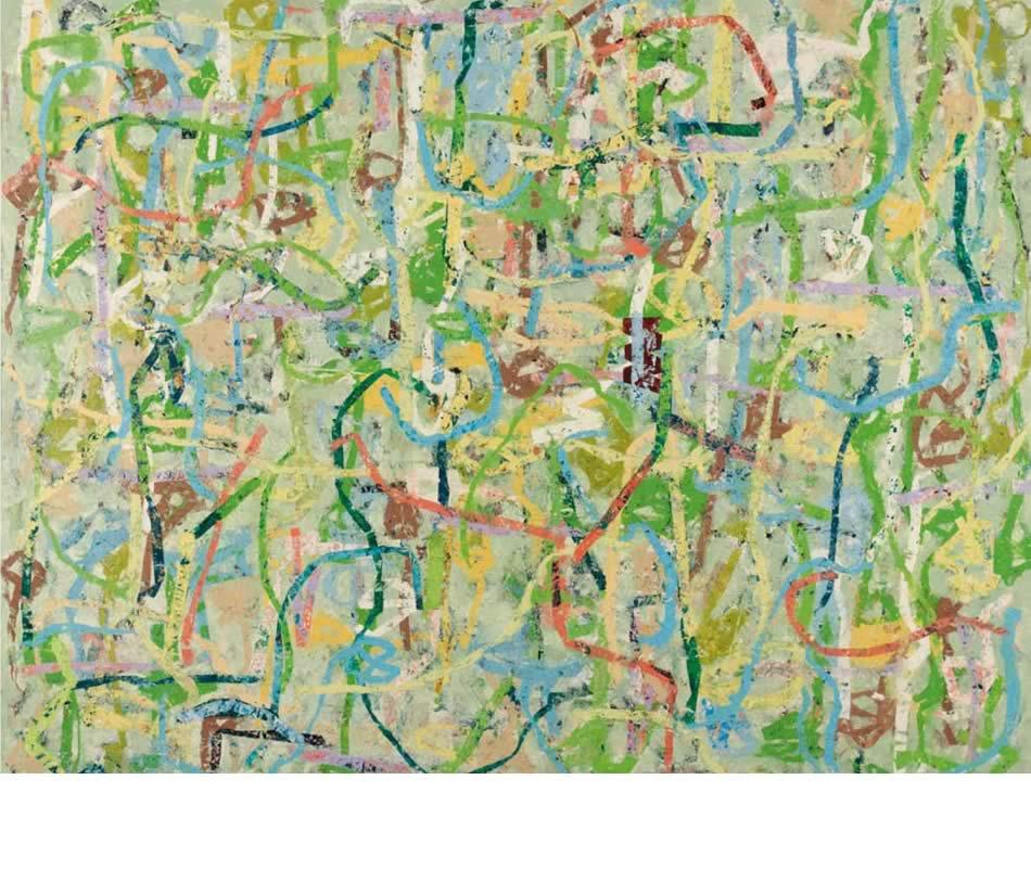 Blumenwiese II, Décollage, Acryl auf Leinwand, 2012, 155 x 200 cm