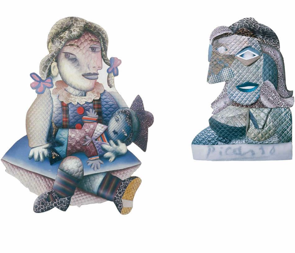 Maja mit der Matrosenpuppe (Hommage à Picasso), Materialmontage, 1975, 143 x 112 cm   |   Picasso, Reliefbild, div. Materialien, 1981, 141 x 102 x 12 cm